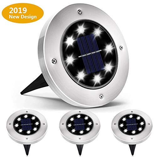 Biling Solar Lights Outdoor, Solar Disk Lights 8 LED Bulbs Waterproof Solar Garden Lights Outdoor for Patio Pathway Ground Lawn Yard Driveway Walkway - White (4 Pack)