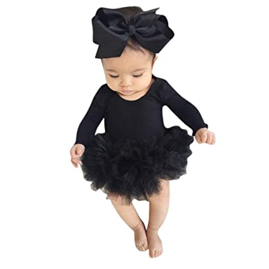67d3252110b2 Amazon.com  Kehen Infant Newborn Baby Girl Spring Outfit Long Sleeve Cotton  Romper Lace Tutu Skirt with Headband 2pc Summer Clothes  Clothing