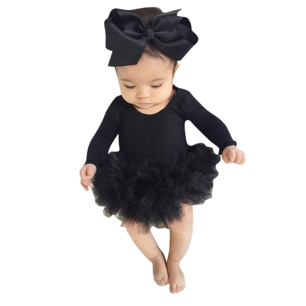 NUWFOR Infant Newborn Baby Girl Tulle Tutu Romper Bodysuit Clothes Headband Outfits Set(Black,18-24 Months by NUWFOR (Image #7)