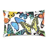 Cotton Velvet Pillowcases Mix Colorful Butterfly Soft Pillow Protector with Hidden Zipper 20 x 30 Inch