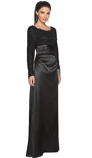 Artizara Maria Black Long Sleeve Silk Modest Formal Evening Gown