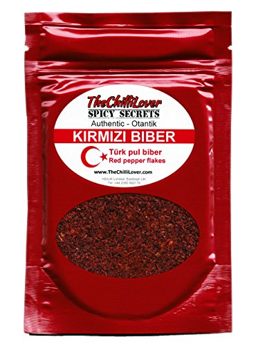 35g Jar of High Quality Türk kirmizibiber (Turkish Crushed Red chilli Pepper flakes) Authentic Spice for cooking, salads or seasoning food. Produce of Turkey Kirmizi Pul Biber Chilli seasoning powder.