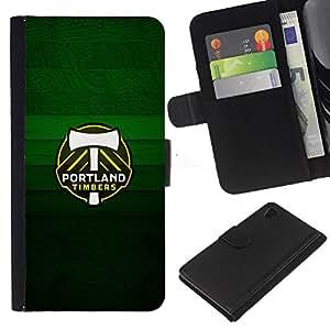 Portland Timber - la tarjeta de Crédito Slots PU Funda de cuero Monedero caso cubierta de piel Para Sony Xperia Z4v / Sony Xperia Z4 / E6508