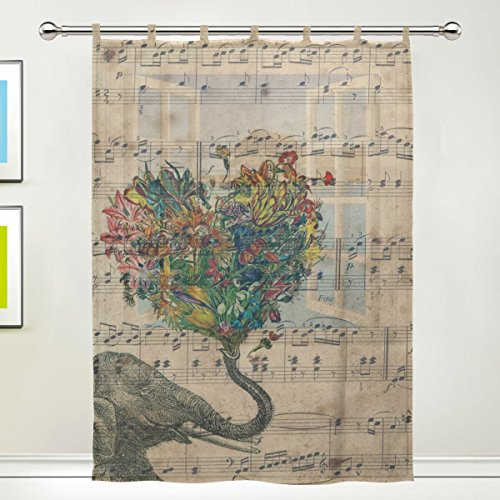 JSTEL Elephant Flower Pattern Floral Print Tulle Voile Door Window Room Sheer Curtain Drape 1 Panel Scarf Valances Wide Width Gauze Curtain for Bedroom 55 x 78 Inch , Single panel