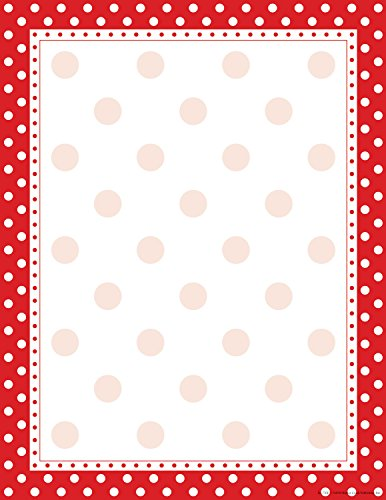 Polka Dot Paper (Barker Creek 8-1/2 x 11 Designer Computer Paper, Red & White Dot, 50-Sheets)