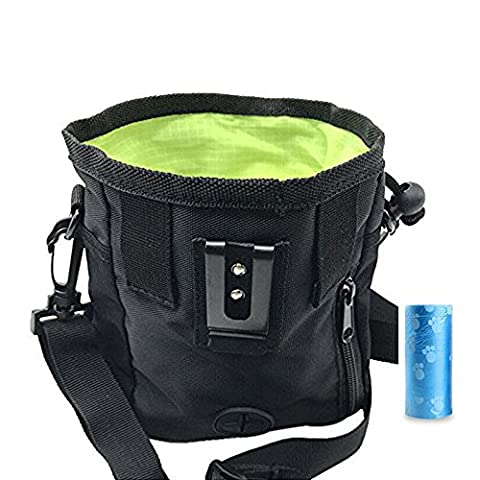 Simply Silver - Pet Dog Puppy Snack Easily Carries Pet Toys Training Food Treat Bag Waist Pouch – Built-In Poop Bag Dispenser – 3 Ways To Wear (Black) + INCLUDED POOP ROLL