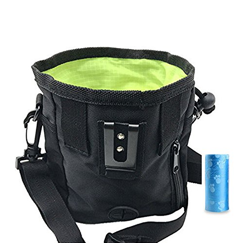 Simply Silver - Pet Dog Puppy Snack Easily Carries Pet Toys Training Food Treat Bag Waist Pouch – Built-In Poop Bag Dispenser – 3 Ways To Wear (Black) + INCLUDED (Black Manta Halloween Costume)
