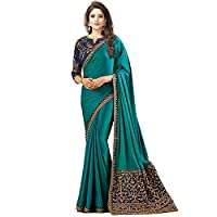 Bigben Textile Embroidered Sana Silk Saree With Embroidered Blouse Piece