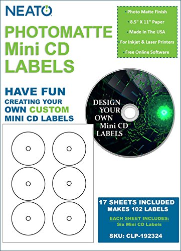 Genuine Neato - PhotoMatte Mini CD Labels CLP-192324 - 6 Labels per Sheet - 17 Sheets - 102 Labels Total  - Online Design Access