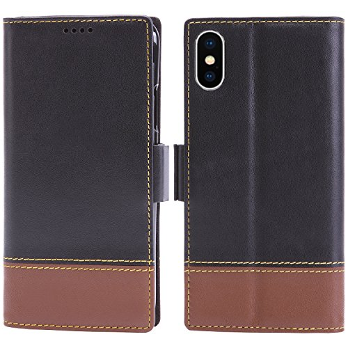 iPhone Xs Leather Case, iPhone X Wallet Case - iPulse London Serie Premium Italian Full Grain Leather Handmade Flip Case for iPhone X with [Magnetic Closure]- Black/Tan