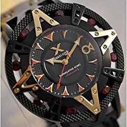 XOSKELETON Men's Limited Edition Automatic Superlative Star Red Sapphire Black IP Steel Watch