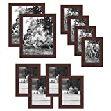 Americanflat 10-Piece Multi Pack Mahogany Frames; Includes (2) 8x10 Frames, (4) 5x7 Frames, (4) 4x6 Frames