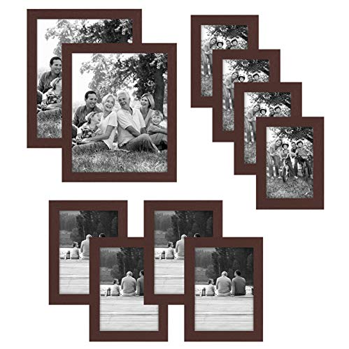 Americanflat 10-Piece Multi Pack Mahogany Frames; Includes (2) 8x10 Frames, (4) 5x7 Frames, (4) 4x6 - Piece Frames 10