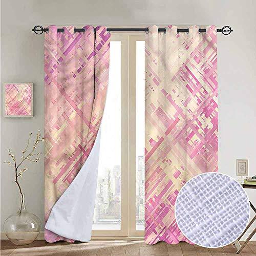 NUOMANAN Grommet Curtains Coral,Random Diagonal Lines,Blackout Draperies for Bedroom Window 120