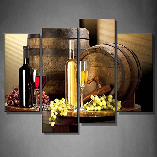 Giclee Canvas Prints Still Life Various Wine Cabernet With Red Green Grape Goblet Glass Barrels Table 4 Panels Painting Pictures Home Decoration by uLinked Art