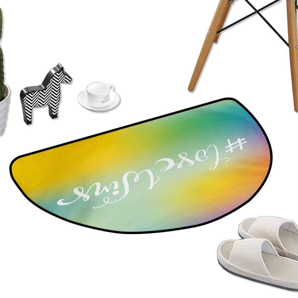 Polyester Rubber Door Mats Romantic Hand Written Quote on an Abstract Backdrop with LGBT Community Elements W24x L16 Half Round Cheap Area Rugs