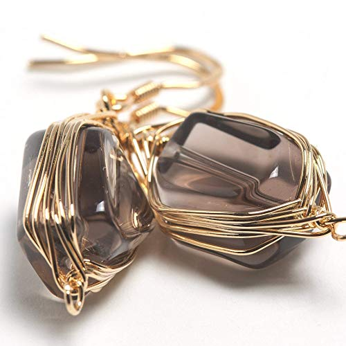 Natural Stone Wire Wrap Dangle Drop Earrings Gold Plated 925 Sterling Silver Hook/Smoky Quartz
