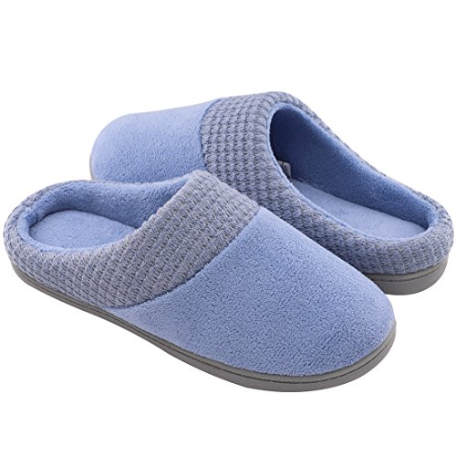 Women's Comfort Terry Plush Memory Foam Slippers Slip-Resistant Indoor & Outdoor House Shoes w/Classic Fabric Knit Collar (Large/9-10 B(M) US, Blue) by ULTRAIDEAS (Image #2)