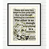 Everything is a miracle - Albert Einstein quote ART PRINT, UNFRAMED, Vintage Highlighted Dictionary Page Wall art decor poster sign, 8x10