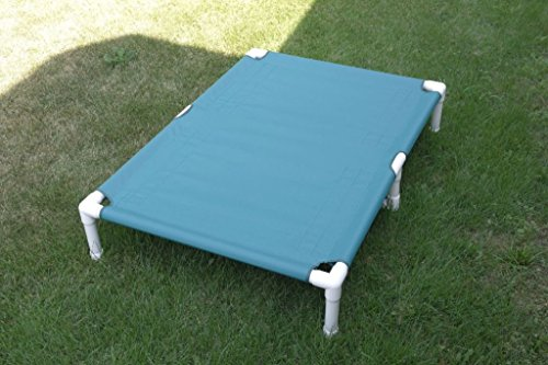 """Made in America Dog Beds, XL Great Dane Dog Bed, Waterproof Canvas Large Pipe Bed Cot, Outdoor Indoor Pet Beds, Color: Teal, Dogs Up to 160 Pounds Size 38""""x55""""x10"""""""