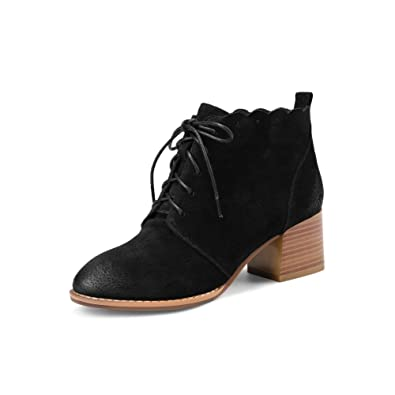 5d6705c9cffd MINIVOG Women s Lace-up Oxford Sole Non-Slip Thick Heel Booties Black US4.