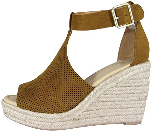 - Cambridge Select Women's Open Toe Perforated Buckled Ankle Strap Espadrille Platform Wedge Sandal,6.5 B(M) US,British Tan IMSU