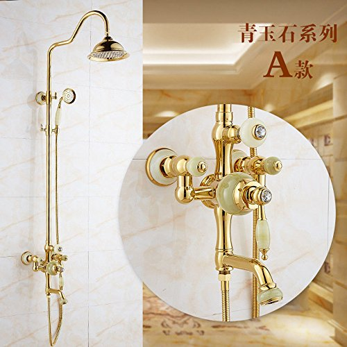 G Hlluya Professional Sink Mixer Tap Kitchen Faucet Shower Faucet Kit gold Green Jade marble shower faucet full copper-Water Valve waterfall faucet, D.