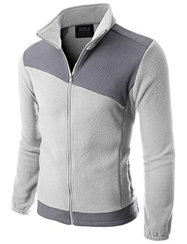 Doublju Mens Basic Zipper Comfort LIGHTGRAYGRAY Light Weight Jacket,3XL