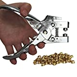 Eyelet Hole Punch Pliers Set with 100 Eyelets by Kurtzy - Metal Eyelets Snap Stud Ring Puncher Plier Cutter Cutters Punches Tool - Ideal Machine for Leather Fabric Belt Clothes Decorative Repair