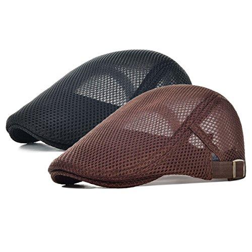 - Men's Mesh Flat Cap Duckbill Beret Ivy Gatsby Newsboy Driving Cabbie Caps Hunting Hat (2 Pack-c)