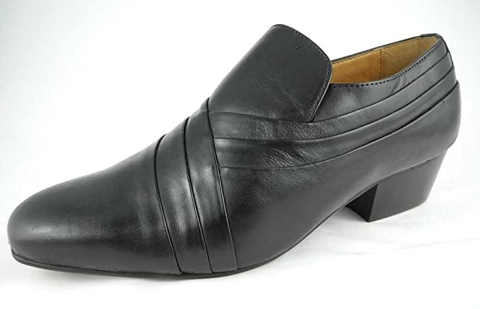 125c6efe12ec Image Unavailable. Image not available for. Colour  Mens Montecatini Black  Leather Slip On Cuban Heels Shoes ...