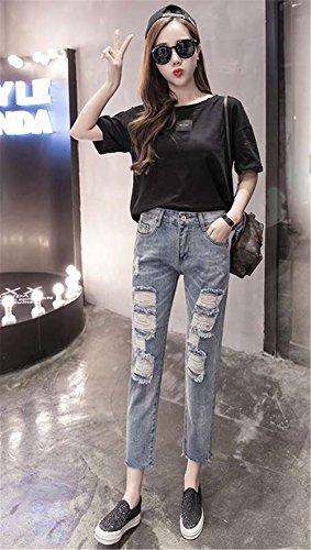 DaBag Baggy Jeans Donna Stile Fidanzato Buco a Vita Alta Pantaloni Larghi Denim Blu