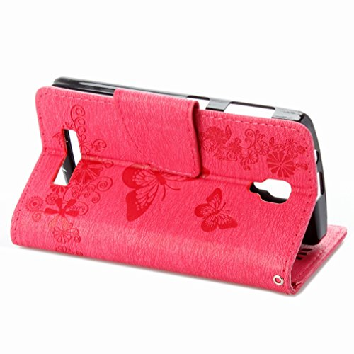 Custodia Lenovo A1000 Cover Case, Ougger Fiore Farfalla Portafoglio PU Pelle Magnetico Stand Morbido Silicone Flip Bumper Protettivo Gomma Shell Borsa Custodie con Slot per Schede (Rosa)