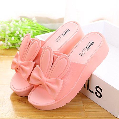 39 señoras 38 fresco Verano zapatillas rosa Black 85Xw1