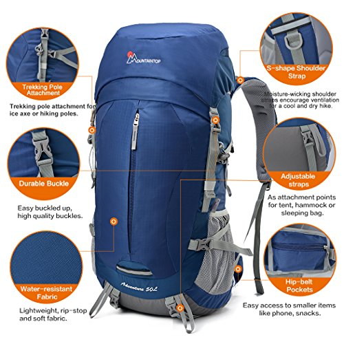 Amazon Mountaintop 50 5 Liter Internal Frame Backpack With Rain Cover Sports Outdoors