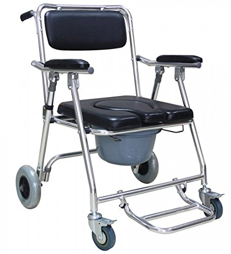 Genmine Mobile Commode Wheelchair With Assistive Seat Shower Toilet Chair with 4 Brakes and Padded Toilet Seat Wheels & Footrests Bedside Shower Transport Chair With Arms SHIPPING FROM US by Genmine (Image #2)