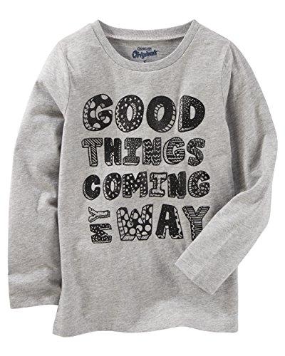Osh Kosh Girls' Kids Long-Sleeve Tee, Grey Good Things, 8