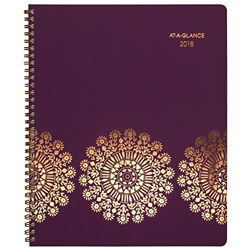 "AT-A-GLANCE Weekly / Monthly Appointment Book / Planner, January 2018 - January 2019, 8-1/2"" x 11"", Sun Dance, Purple (5051-905)"