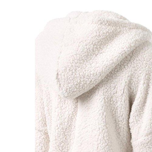 de KaloryWee Chaqueta Mujeres para Capucha Algodón con de las Cálida lana Cremallera Blanco Chaqueta Abrigo Invierno Mujer UqOxUrP