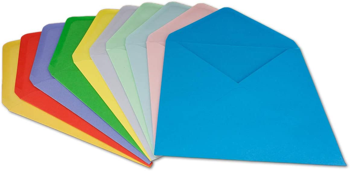 100 g//m/² Nassklebung spitze Klappe 200 DIN C6 Briefumschl/äge UmschlagPakete Farbenmix 11,4 x 16,2 cm Gl/üxx-Agent aus der Serie Colours-4-you