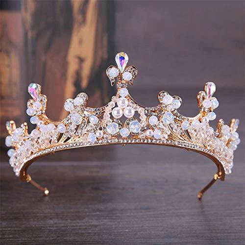 Spring Lb 0.25 (Campsis Pearl Rhinestone Wedding Crowns for Brides Gold Bridal Wedding Tiaras Bride Wedding Tiara Jewelry Crown for Women and Girl.)