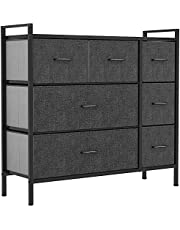 YITAHOME 7 Drawers Fabric Dresser, Furniture Storage Drawer Unit, Sturdy Steel Frame, Wooden Top & Easy Pull Fabric Bins, Organizer Tower Chest for Closet, Bedroom, Entryway, Nursery(Black Grey)