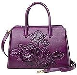 Top Handle Satchel Handbag For Women Floral Purses Genuine Leather Shoulder Bag (22618, New Violet)