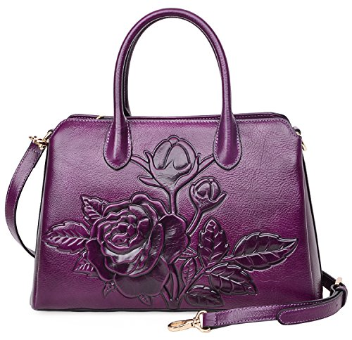 PIJUSHI Women Top Handle Handbag Satchel Floral Purses Genuine Leather Shoulder Bag 22618 (One Size, New Violet) (Purple Purse Rose Leather)