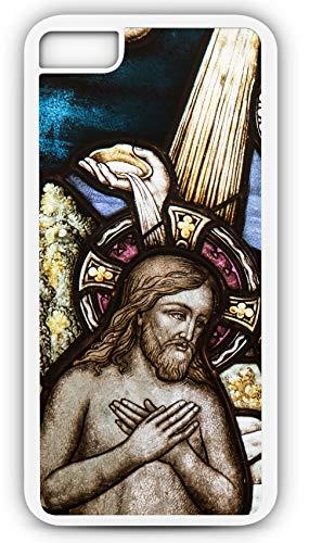 iPhone 8 Plus 8+ Case Church Window Baptism Sacrament Glass Customizable by TYD Designs in White Plastic Black Rubber Tough Case -