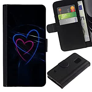 UberTech / Samsung Galaxy S5 V SM-G900 / Hearts Love Black Neon Blue Pink / Cuero PU Delgado caso Billetera cubierta Shell Armor Funda Case Cover Wallet Credit Card