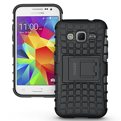 Samsung Galaxy Core Prime Case - Tough Rugged Dual Layer Protective Case with Kickstand for Samsung Galaxy Core Prime G360 / Prevail LTE - Black (Samsung Galaxy Prevail Cases)