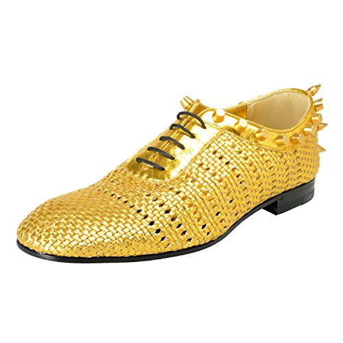 Gucci Men's Gold Braided Leather Studded Oxfords Shoes Sz US 8.5 IT 7.5 EU 41.5
