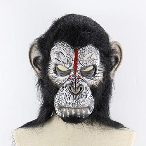 Planet Of The Apes Halloween Cosplay Gorilla Masquerade Mask Monkey King Costumes Caps Realistic Monkey Mask - White&Black]()