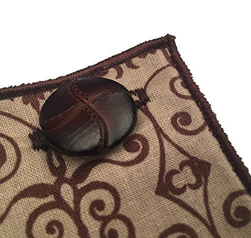 Brown Print with Brown Leather Button Men's Pocket Square by The Detailed Male by The Detailed Male (Image #2)